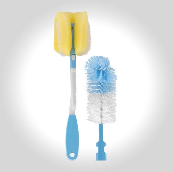 Escova de Mamadeira c/ Espuma e Cabo Removível Azul